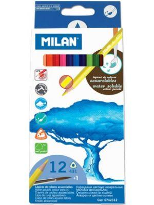 Creioane colorate acuarelabile,  12 buc/set, Milan