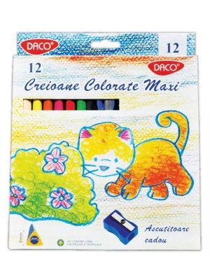 Creioane colorate, 12 buc/set, Daco Maxi