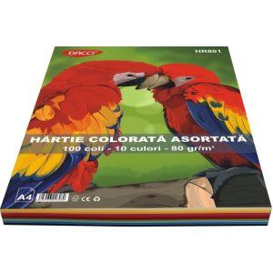 Hartie colorata A4, 80g/mp, 10 culori, 100coli/top, Daco