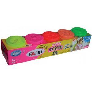 Plastilina 5 culori neon, 250g, Fatih